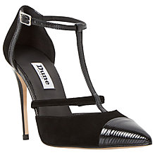 Buy Dune Dayna T-Bar Stiletto Court Shoes, Black Online at johnlewis.com