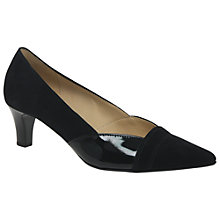 Buy Gabor Amberley Kitten Heel Court Shoes, Black Patent/Suede Online at johnlewis.com