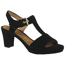 Buy Gabor Clover Wide Fitting Block Heeled Sandals, Black Suede Online at johnlewis.com