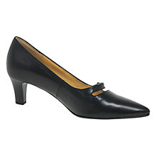 Buy Gabor Charity Pointed Heel Court Shoes, Black Leather Online at johnlewis.com