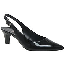 Buy Gabor Hume Sling Back Court Shoes, Black Patent Online at johnlewis.com