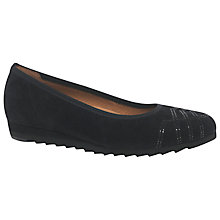 Buy Gabor Branch Wide Fit Slip On Pumps, Black Suede Online at johnlewis.com