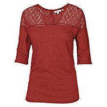 Buy Fat Face Rosside Lace Tee, Burnt Sienna Online at johnlewis.com