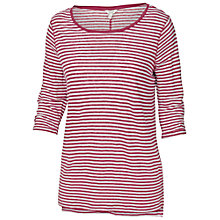 Buy Fat Face Linen Bretton Stripe Jersey Top, Garnet Online at johnlewis.com