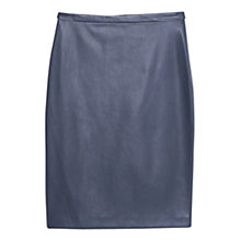 Buy Mango Vent Faux Leather Pencil Skirt, Navy Online at johnlewis.com