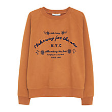 Buy Mango Cotton Printed Message Sweatshirt, Dark Brown Online at johnlewis.com