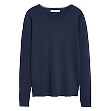 Buy Mango Ribbed Sweater, Navy Online at johnlewis.com