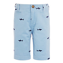 Buy John Lewis Boys' Shark Embroidered Chino Shorts, Blue Online at johnlewis.com