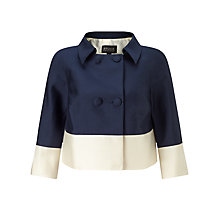 Buy Bruce by Bruce Oldfield Silk Wool Cropped Jacket, Navy/Cream Online at johnlewis.com