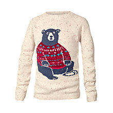 Buy Fat Face Girls' Bear Jumper, Beige Online at johnlewis.com