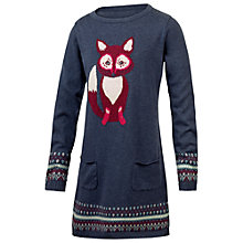 Buy Fat Face Girls' Fox Knitted Dress, Navy Online at johnlewis.com