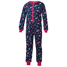 Buy Fat Face Girls' Owl Print Onesie, Navy/Pink Online at johnlewis.com