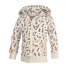 Buy Fat Face Girls' Bird Print Zip Through Hoodie, Beige Online at johnlewis.com