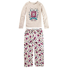 Buy Fat Face Girls' Floral Print Bear Pyjama Set, Cream/Purple Online at johnlewis.com