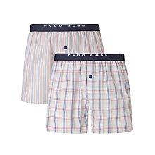 Buy BOSS Check Woven Cotton Boxers, Pack of 2 Online at johnlewis.com