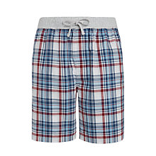 Buy BOSS Check Woven Cotton Lounge Shorts, Red/Blue Online at johnlewis.com