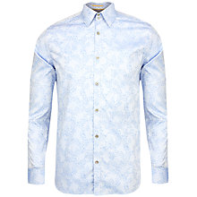 Buy Ted Baker Jakamo Jacquard Leaf Pattern Shirt, Blue Online at johnlewis.com