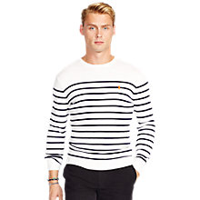 Buy Polo Ralph Lauren Striped Cotton Jumper, White/Blue Online at johnlewis.com