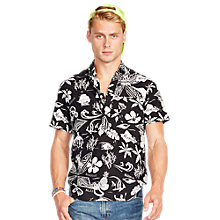 Buy Polo Ralph Lauren Hawaiian Linen Silk Shirt, Black/White Online at johnlewis.com