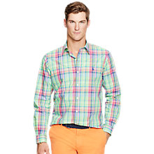 Buy Polo Ralph Lauren Long Sleeve Sport Shirt, Fern/Pink Online at johnlewis.com