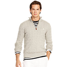 Buy Polo Ralph Lauren Cabled Silk Jumper, Ruby Grey Heather Online at johnlewis.com