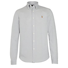 Buy Polo Ralph Lauren Slim Fit Cotton Oxford Sports Shirt, Black Coal/White Online at johnlewis.com