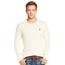 Buy Polo Ralph Lauren Cable Cotton Jumper, Antique Cream Online at johnlewis.com