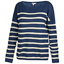 Buy Fat Face Billacombe Stripe Jumper, Indigo Online at johnlewis.com