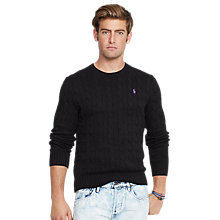 Buy Polo Ralph Lauren Cable Cotton Jumper, Black Online at johnlewis.com