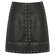 Buy Warehouse Faux Leather Studded Skirt, Black Online at johnlewis.com