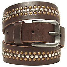 Buy White Stuff Studded Leather Belt, Chocolate Online at johnlewis.com