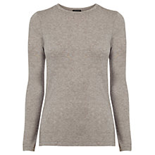 Buy Warehouse Luxe Crew Neck Jersey Top, Light Grey Online at johnlewis.com