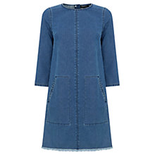 Buy Warehouse Frayed Hem Denim Shift Dress, Mid Wash Online at johnlewis.com