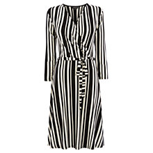 Buy Warehouse Stripe Print Wrap Dress, Black/White Online at johnlewis.com