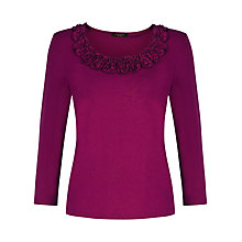 Buy Precis Petite Ruffle Detail Jersey Top, Fuchsia Online at johnlewis.com