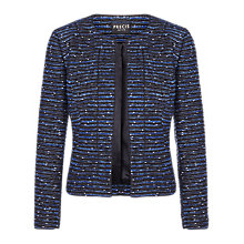 Buy Precis Petite Tweed Embellished Jacket, Blue/Black Online at johnlewis.com