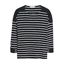 Buy Mango Striped Cotton-Blend Jumper, Black Online at johnlewis.com
