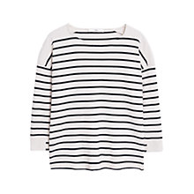 Buy Mango Striped Cotton Sweater, Natural White Online at johnlewis.com