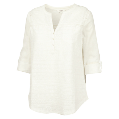Fat Face Anna Broderie Popover Blouse, Ivory