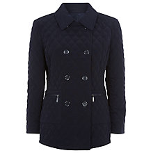 Buy Precis Petite Quilted Double Breasted Coat, Navy Online at johnlewis.com