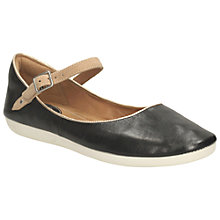Buy Clarks Feature Film Flat Heeled Mary Jane Pumps, Black Leather Online at johnlewis.com
