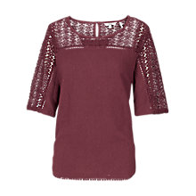 Buy Fat Face Lace Detail Top Online at johnlewis.com