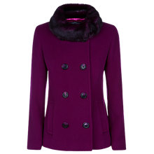 Buy Precis Petite Double Breasted Faux Fur Trim Coat, Dark Pink Online at johnlewis.com