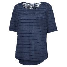 Buy Fat Face Self Stripe Crochet T-Shirt, Navy Online at johnlewis.com