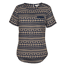 Buy Fat Face Maddie Stitch Print Shell T-Shirt, Navy/Gold Online at johnlewis.com
