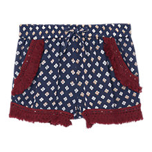 Buy Mango Kids Girls' Printed Fringe Shorts, Navy Online at johnlewis.com