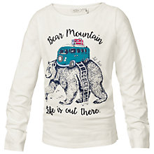 Buy Fat Face Girls' Bear Printed Long Sleeve T-Shirt, White Online at johnlewis.com
