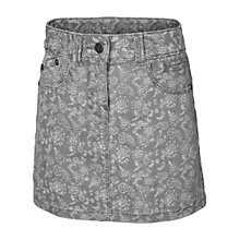 Buy Fat Face Girls' Floral Print Denim Skirt, Grey Online at johnlewis.com