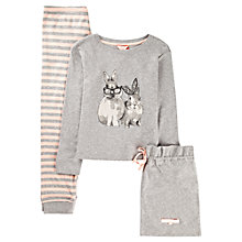 Buy Jigsaw Junior Girls' Bunny Pyjama Set, Grey/Pink Online at johnlewis.com