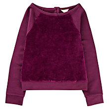 Buy Jigsaw Junior Girls' Velvet Front Sweater, Plum Online at johnlewis.com